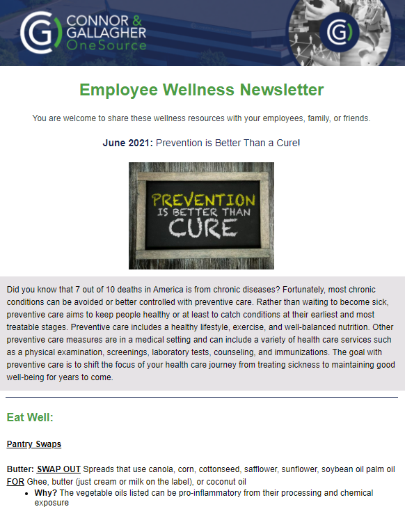 Prevention is better than a cure wellness newsletter