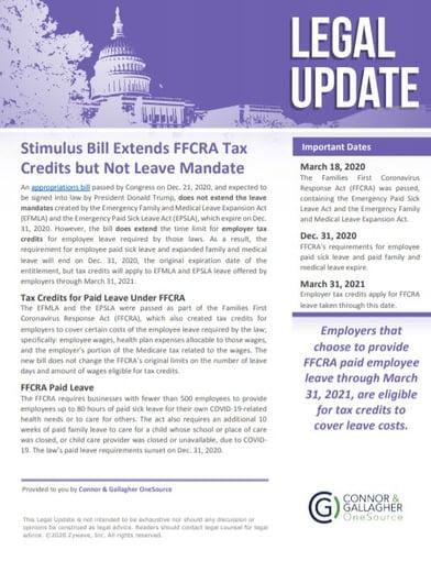 Stimulus Bill Extends FFCRA Tax Credits