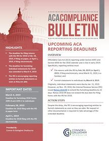 upcoming aca deadlines for 2018 reporting